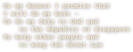 On my Honour I promise that